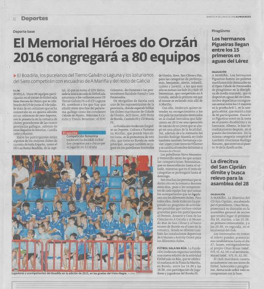 Memorial Heroes do Orzán 2016, A Mariña-El Progreso
