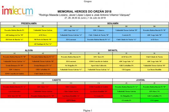 Calendario Sede A Mariña. Memorial Heroes do Orzán 2018
